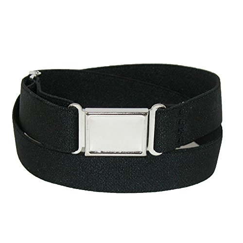 CTM Plus Size Elastic Belt with Magnetic Buckle, Black