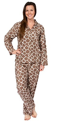 Leisureland Women's Cotton Flannel Pajama Set Giraffe Van...