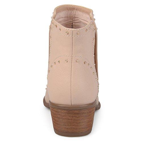Brinley Co Kvinna Ginny Faux Läder Staplas Häl Dubbade Boots Rosa