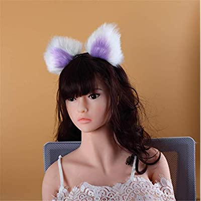 White Three Sizes Fluffy Faux Fox Tail & Cat Ears Headband Charms Role Play Costume Party Masquerade Cosplay Prop (White & Purple, M) : Office Products