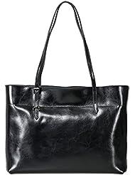 Z•G Womens Vintage Genuine Leather Tote Shoulder Bag Handbag (Black)
