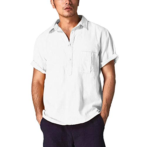 Fastbot Men Shirts Short Sleeve Polo Shirt Slim fit Baggy Cotton Linen Solid Color Retro Tops Blouse White