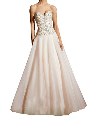 LISA.MOON Women's Sweetheart A Line Beading Backless Sweep Train Wedding Dress Ivory US6