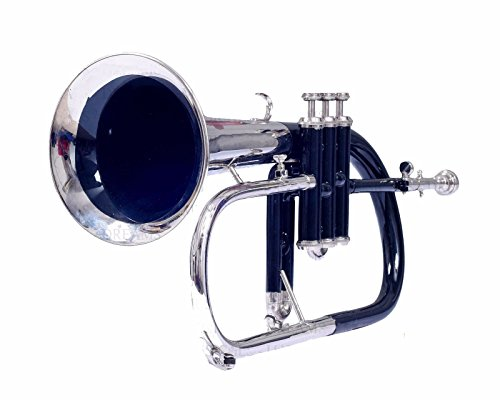 BLACK COLOR + NICKEL FLUGEL HORN 3 VALVE WITH FREE HARD CASE AND MOUTHPIECE by SAI MUSICAL