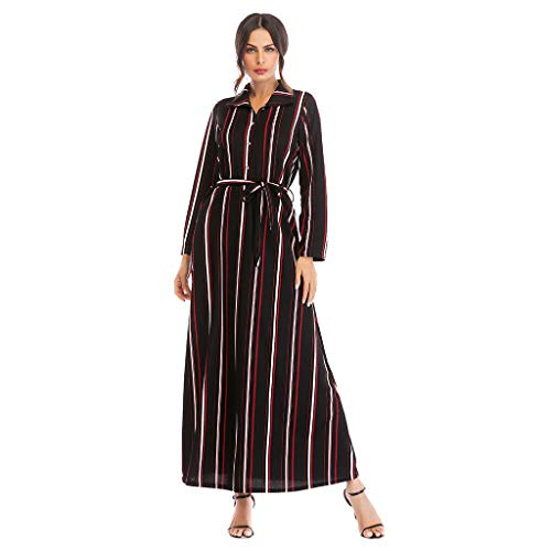 (Bravetoshop Women Casual Loose Turn-Down Collar Full Sleeve Striped Long Dress Sun Protection Dresses(Red,S))