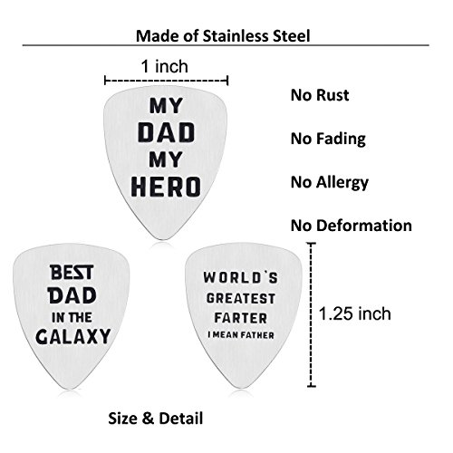 IJuqi Guitar Pick Gift for Dad Father - Pack of 3 Dad Gift Set from Wife Girlfriend Daughter Son Kids, Stainless Steel, Christmas Birthday Valentines Fathers Day Gift