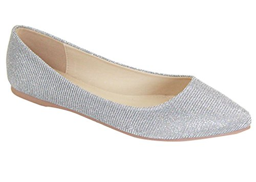 Angie Ballet Glitter Pointy Bella Women's Flat Marie Toe Silver BellaMarie Shoes Classic 28 fqnRn8EUw