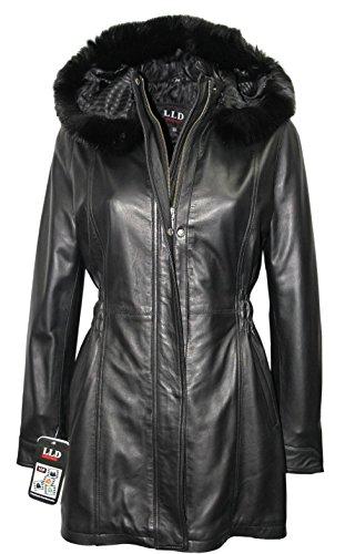 media media LLD progettista cappotto con cappuccio cuoio rivestimento Nero lunghezza del di Trench Signore in pelliccia ztgd4t