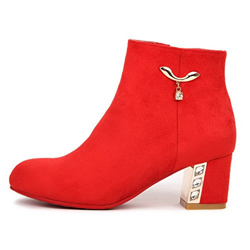 Allhqfashion Women's Imitated Suede Kitten-Heels Boots with Thread and Metal Ornament Red nfPL1eJf