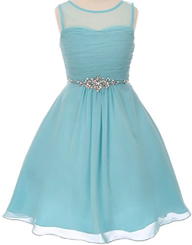 Little Girls Chiffon Pleated Rhinestone Easter Summer Flowers Girls Dresses Aqua 6 (Poly Chiffon Dresses)