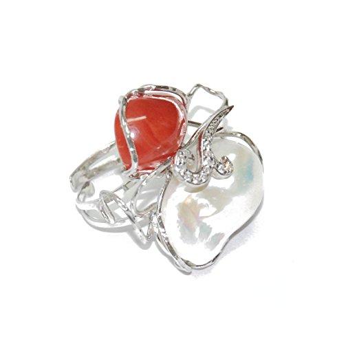 Créations or Bague en Argent rhodié avec zirconium, perle irrégulier et corail, finition à la main 16menan2251