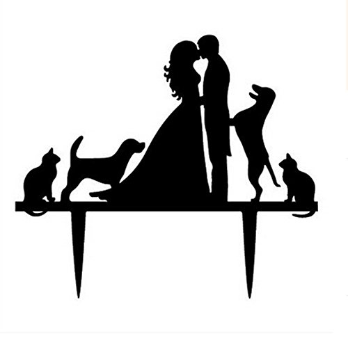 Ecape Acrylic Cake Topper of Engagement and Wedding with Bride and Groom and Their Lovely Pets Pack of 1