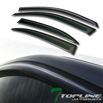 (Topline Autopart Smoke Window Visors Deflector Vent Shade Guard 4 Pieces For 13-15 Chevy Malibu)