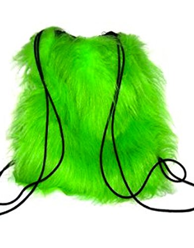 Insanity Fluffy Furry Neon Green Backpack ()