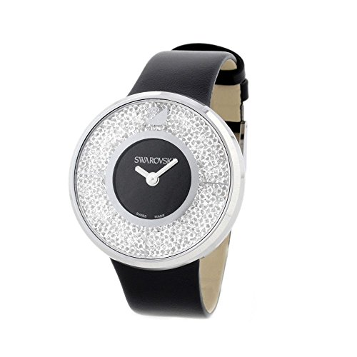 Swarovski Crystalline Women s Quartz Watch with Black Dial Analogue Display and Black Leather Strap 1135988