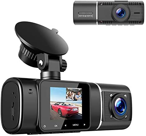 "Dual Dash Cam, TOGUARD FHD 1080P+1080P Front Cabin Inside Dual Dash Camera Driving Recorder for Cars Taxi w/IR Night Vision Parking Monitor, 1.5"" Screen Display Compact Small 2 Way Car Security Camera"