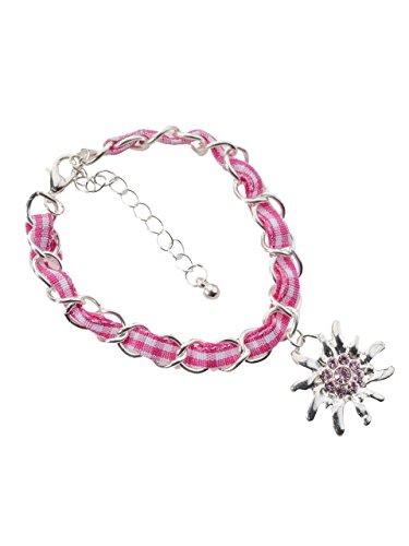 Trachtenarmband Edelweiss Gliederkette Klassik - elegante und traditionelle Gliederkette / Armband für Dirndl und Lederhose (pink/weiss)