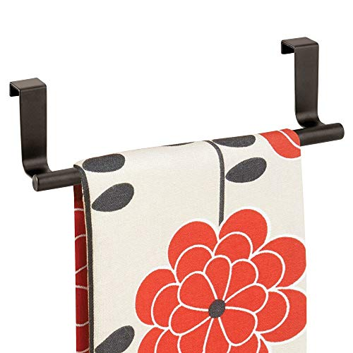 - mDesign Decorative Metal Kitchen Over Cabinet Towel Bar - Hang on Inside or Outside of Doors, Storage and Display Rack for Hand, Dish, and Tea Towels - 9.8