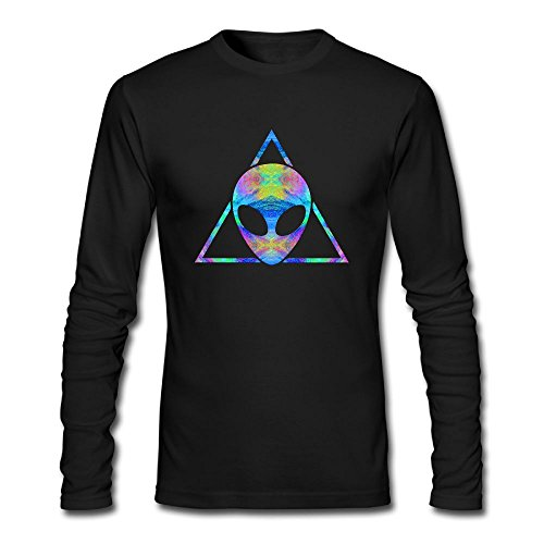 Men's Alien Head Triangle Long Sleeve Athletic Cotton Crew Neck - Clothing Africa Versace South