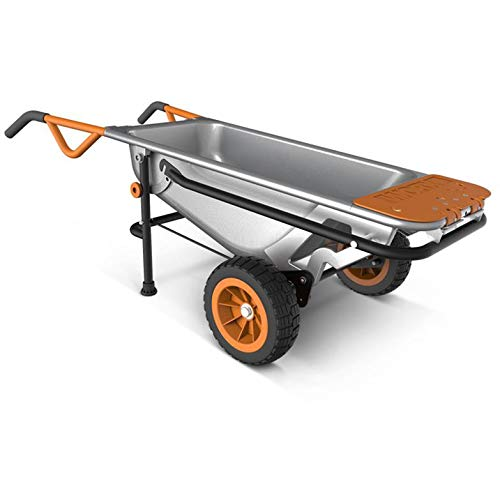 "WORX WG050 Aerocart 8-in-1 All-Purpose Wheelbarrow/Yard Cart/Dolly, 18"" x 12"" x 42"", Orange, Black, and Silver from WORX"