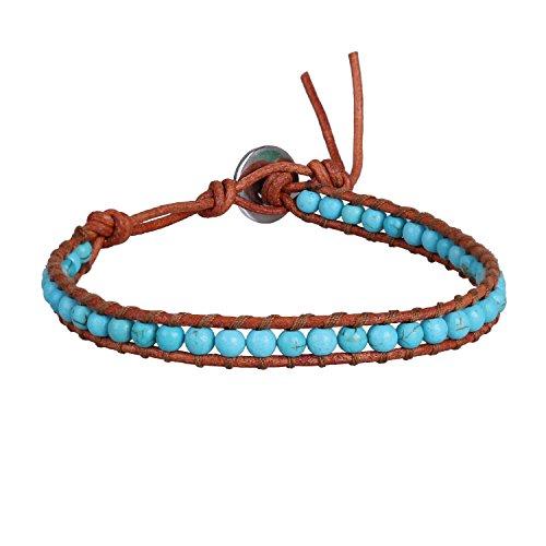 KELITCH Blue Created-Turquoise Bead Brown Leather Summer Sports Single Wrap Bracelet