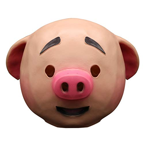 Ganenn Cute Pig Head Mask, Unisex 3D Funny Mouth Latex Mask for Halloween Masquerade Cosplay Costume Party Props (Pig) ()