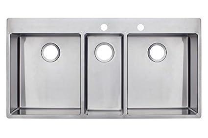 Franke 2 Dual soporte Triple cuenco fregadero de cocina con dos ...