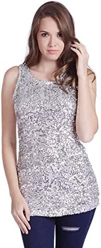HDE Women's Shiny Sequin Tank Top Embellished Sparkly Sleeveless Party Shirt