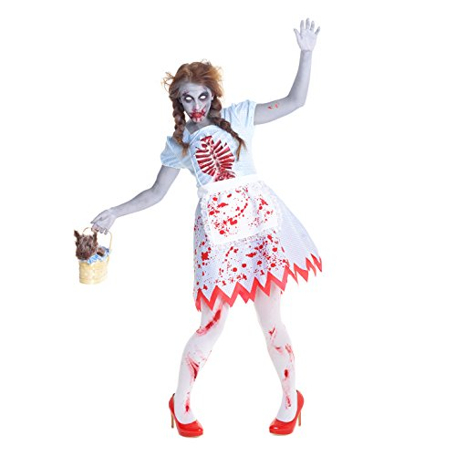 Womens Wizard of Oz Dorothy Zombie Costume - Quality Halloween Costume,Med 6 - 8 (Zombie Morph)