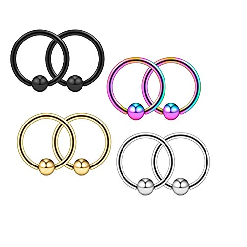 Captive Hoop Bead (MoBody 4 Pairs Captive Bead Hoop Piercing Rings Set 16G Surgical Stainless Steel Nose Lip Tragus Nipple Body Jewelry)