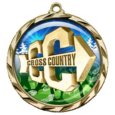 Express Medals Gold 1st Place Cross Country Medal with Neck Ribbon Award 022 10PK (Gold Medals Country)