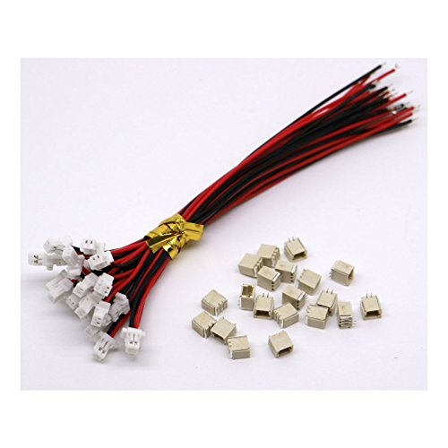 daier 20 Sets Mini Micro Sh 1.0 Jst 2-Pin Connector Plug Male with 100Mm Cable & Female
