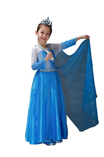 Peachi Princess E5 Disney Frozen Inspired Queen Elsa Costume Dress Halloween Party 4-12Y