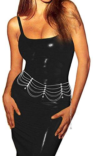 Luna Sosano Womens Rhodium Plated Fashion Antique Chain Belt - Type 105 - Polished Silver