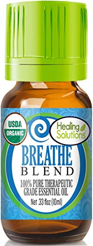 Organic Breathe Essential Oil (100% Pure - USDA Certified Organic) Best Therapeutic Grade Essential Oil - 10ml