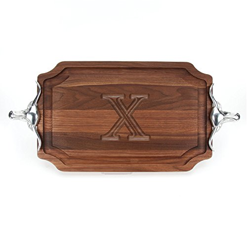 Longhorn Handles - BigWood Boards W320-LLH-X Carving Board with Large Longhorn Handle in Cast Aluminum with Scalloped Corners, 15-Inch by 24-Inch by 1.25-Inch, Monogrammed