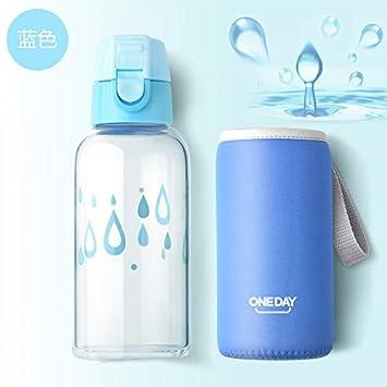 Botella de agua de vidrio con bolsa de protección 350 ml agua potable mi para botella