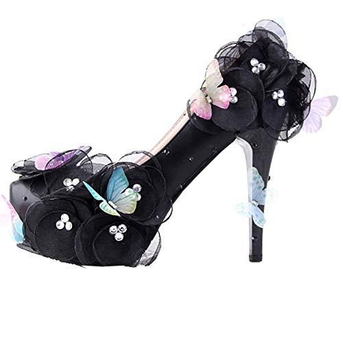 c6b3c98cabd03 ウェディングシューズ ハイヒール 黒 バタフライ飾り 飾った 花 ビジュー付き 美脚パンプス キラキラ ブライダル パーティー