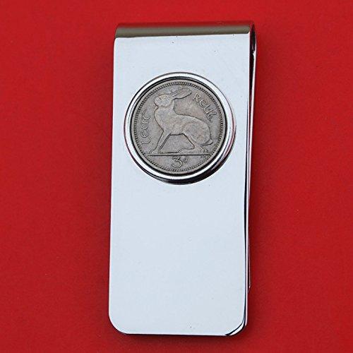 1928 ~ 1968 Irish Ireland 3 Pence Coin Solid Brass Money Clip New - Lucky Rabbit Hare - Silver Coin - Coin Silver Pence