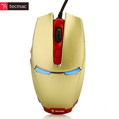 TecMac Iron Man Design USB Wired 3200 DPI 6D Gaming Automatic Change Color Mouse for PC/Laptop, 4 Adjustable DPI Levels with 6 Buttons (Gold) by tecmac (Image #1)