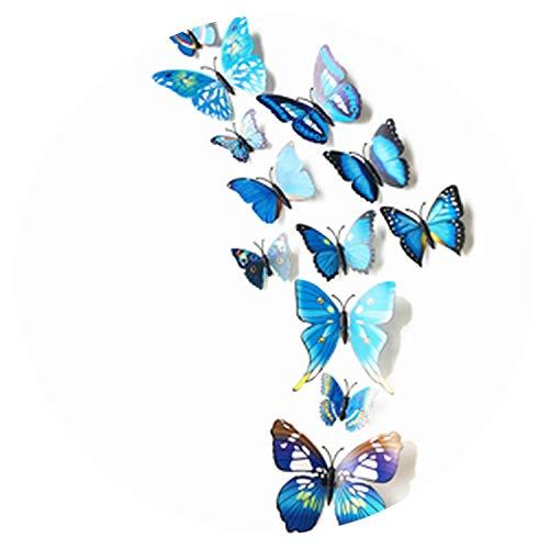 12Pc 3D Butterflies On The Wall Stickers Home Decor Wall Poster Art Adhesive Sticker Wedding Decor Vinyl Wall Decals Muursticker,Blue ()