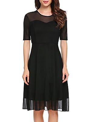 Hotouch Women Elegant O-Neck Short Sleeve Sheer Mesh Formal Party Dress