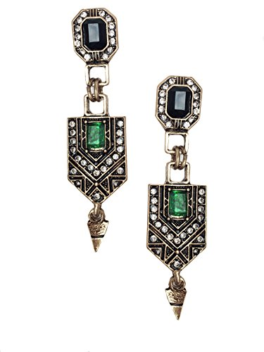 Gold Tone Art Deco Antique Vintage Flapper Jet Black Onyx Green Emerald Rhinestone Wedding Bridal Prom Long Dangle Earrings