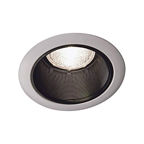 (Juno Lighting 14B-WH 4-Inch Recessed Baffle Trim, Black Baffle with White)