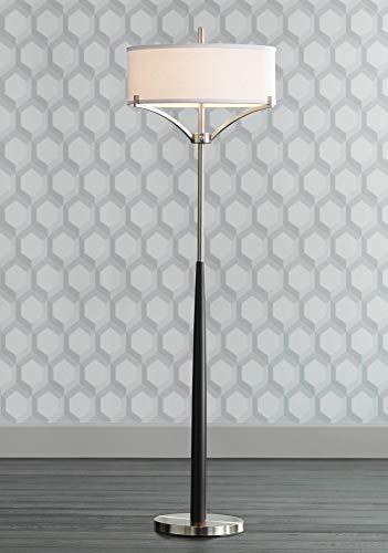 Avery Modern Floor Lamp Black and Brushed Steel Column White Linen Drum Shade for Living Room Reading Bedroom Office - 360 Lighting Black Brushed Floor Lamp