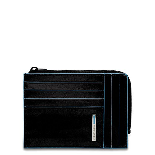 Piquadro Leather Credit Card Holder with Zip Pocket, Black, One Size by Piquadro