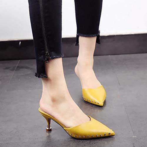 confortevole alti tacco europeo a moda punta alto spillo stile Tacchi sexy temperamento tacchi YMFIE A con ciabatte punta in a con 1wHZpgx7