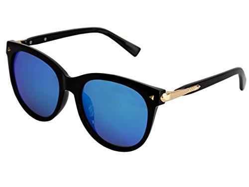 VOLCHIEN Polarized Sunglasses Men Women Blue Lens Mirrored Vintage VC1004 (Black, - The Is What Of Advantage Sunglasses Polarized