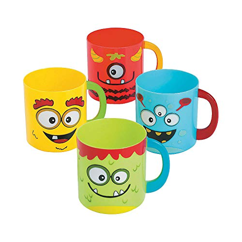Fun Express - Mini Monster Plastic Mugs for Birthday - Party Supplies - Drinkware - Plastic Mugs W & Handles - Birthday - 12 Pieces