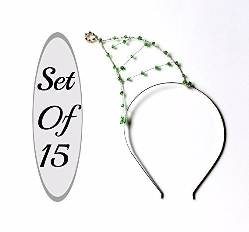 Set Of 15 Christmas Headbands, Party Pack Of Fifteen Green Beaded Elf Hat Hair Bands, Elves Hats For Christmas Parties, Photo Booths & More by Scarlet Tiaras